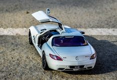 Mercedes SLS 6.3 AMG 1:18 GtAutos diecast model. Modelcar of an Mercedes SLS 6.3 AMG made by GtAutos at 1:18 scale Stock Photos