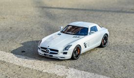 Mercedes SLS 6.3 AMG 1:18 GtAutos diecast model. Modelcar of an Mercedes SLS 6.3 AMG made by GtAutos at 1:18 scale Royalty Free Stock Photo