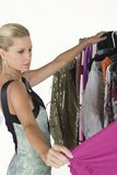 Modelchoosing dress Royalty-vrije Stock Afbeelding