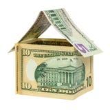 Modeldiehuis van dollarbankbiljetten wordt gemaakt Stock Foto