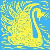 Modele a cisne amarela estilizado em um fundo azul Imagens de Stock Royalty Free