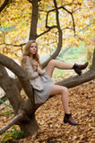 Modele com os pés longos que sentam-se em uma árvore Vestido em um vestido leve Imagens de Stock