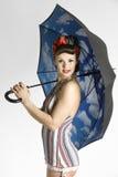 Modele con el paraguas Fotografía de archivo libre de regalías