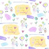 Modele de los dibujos del ` s de los niños para el día del ` s de la madre Imagenes de archivo