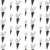 Modele el huerto de la planta de agosto de la zanahoria del negro de la cosecha del otoño del ornamento en el fondo blanco stock de ilustración