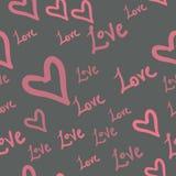 Modele inconsútil con formas del corazón y las palabras aman Fondo del día de tarjetas del día de San Valentín en estilo del chil Fotografía de archivo