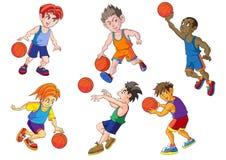 Modele la obra clásica hermosa del ector del vector de la historieta del baloncesto del vSport foto de archivo