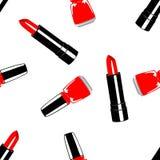 Modele o batom vermelho dentro e o verniz para as unhas vermelho ilustração stock