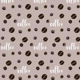 Modele o copo doce marrom do menu do café do café branco do vetor do ornamento da fonte da palavra da inscrição da grão no fundo  ilustração royalty free