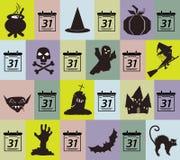 Modele o crânio, a abóbora, o Ghost, o bastão e o vampiro de Dia das Bruxas no colo Imagens de Stock Royalty Free