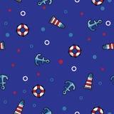 Modele o farol, o boia salva-vidas e a âncora do mar na obscuridade - fundo azul Fotografia de Stock