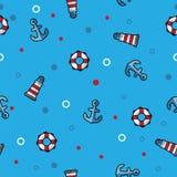 Modele o farol, o boia salva-vidas e a âncora do mar no fundo azul Imagem de Stock Royalty Free