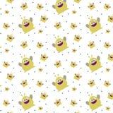 Modele o ornamento com o monstro amarelo bonito engraçado no fundo branco ilustração stock