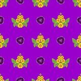 Modele o ornamento floral da folha de flores amarelas com folhas Foto de Stock Royalty Free