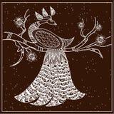 Modele o pavão em um marrom e em um branco do ramo Imagem de Stock