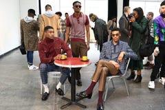 Modele pozują przy David jelenia prezentacją Fotografia Royalty Free