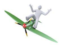 Vol d'avion de bande dessinée illustration de vecteur