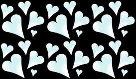 Modelez sans couture des coeurs froids, bleu-clair, brillants au jour de St Valentine sur un fond noir illustration stock