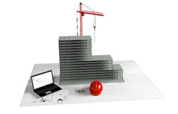 Modelhuis in aanbouw, computer, helm, 3D visualisatie Stock Foto