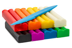 Modeling clay eight colors Royalty Free Stock Images