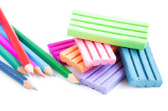 Modeling clay and pencils Stock Photography