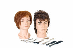 Modeling heads. For hairdressers and makeup artist on white background, reflective surface, studio shot Royalty Free Stock Photos