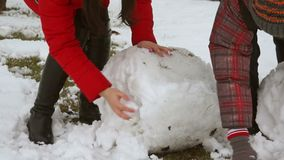 Modeling snow globe. Molded ball of snow for snowman snow globe stock footage