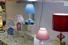 Modeling table lamps. Modeling lamp on display at the exhibition, amoy city, china Royalty Free Stock Photo