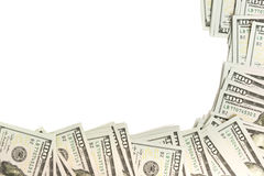 Modelkader van honderd-dollar bankbiljetten wordt gemaakt op wit met exemplaarruimte die worden geïsoleerd royalty-vrije stock afbeelding