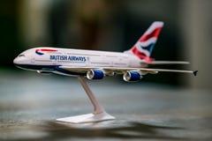 Modell Airplane av en flygbuss A380, British Airways arkivfoto
