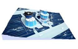 Modell av av byggnaden på en backe Arkivbilder