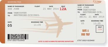 Modell av biljetten för flygbolaglogipasserande Royaltyfri Foto