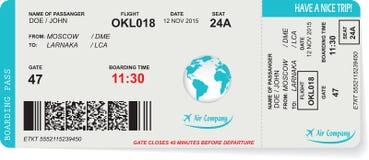Modell av biljetten för flygbolaglogipasserande Arkivfoto