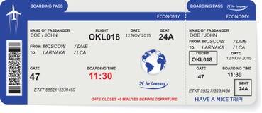 Modell av biljetten för flygbolaglogipasserande Arkivfoton