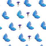 Modell av blåa fjärilar och blommor stock illustrationer