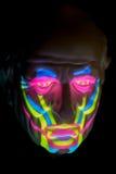 Modell av den mänskliga framsidan som visar ansikts- muskler royaltyfri bild
