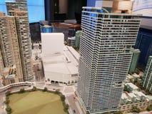Modell av den Rockwell aff?ren och bostads- byggnader och shoppingkomplexet royaltyfria bilder