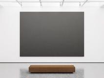 Modell av den tomma galleriinre med svart kanfas fotografering för bildbyråer