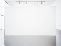 Modell av den tomma vita galleriinre 3d framför Arkivbild
