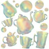 Modell av färgrika koppar och tekannor Gr?n tea med koppen och teapoten vektor illustrationer