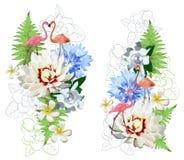 Modell av flamingo och exotiska flowes royaltyfri illustrationer
