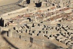 Modell av forntida Jerusalem som fokuserar på övrestaden Royaltyfri Foto