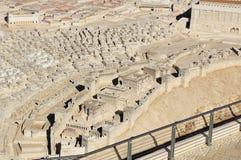 Modell av forntida Jerusalem som fokuserar på den lägre staden Arkivbild