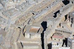 Modell av forntida Jerusalem som fokuserar på pölen av Siloam Arkivfoto