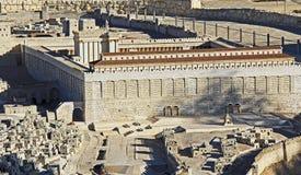 Modell av forntida Jerusalem som fokuserar på tempelmonteringen Arkivfoto