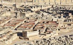 Modell av forntida Jerusalem som fokuserar på två slottar Royaltyfri Foto