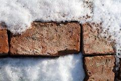 Modell av gamla tegelstenar i snö och is 4 Arkivfoto