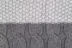 Modell av grå sticka textur för ullgarn, handgjorda kraft royaltyfria bilder