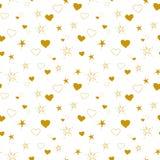 Modell av guld- hjärtor och stjärnor royaltyfri illustrationer