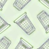 Modell av många små shoppa vagnar på en limefruktbakgrund arkivbild